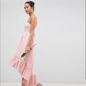 Club L | Bandeau Drop Hem Frill Maxi Dress | Pink